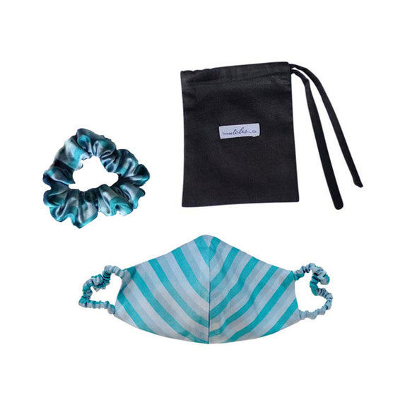 Silk Mask with covered elastic - Blue Stripe with matching hair scrunchie