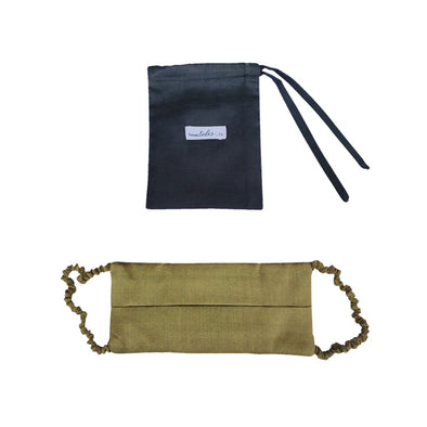 Silk Face Mask Pleated with Covered Strap -Olive -PRE ORDER