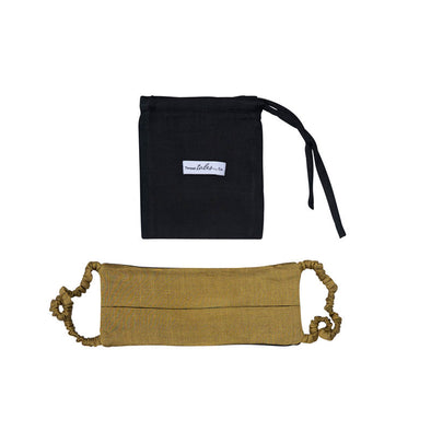 Reversible Silk Face Mask with Covered Elastic - Gold