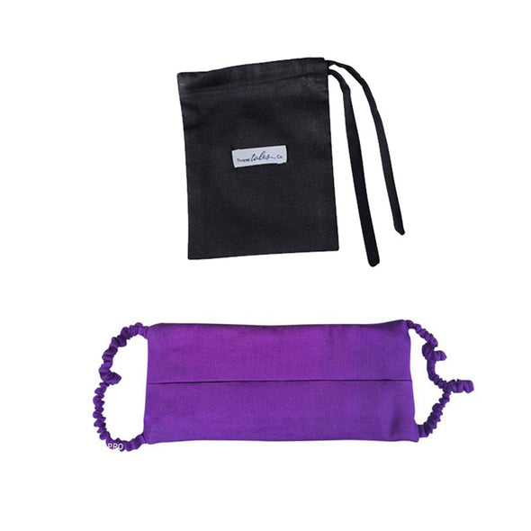 Covered Strap Reversible Face Mask - Purple/black -Pre Order