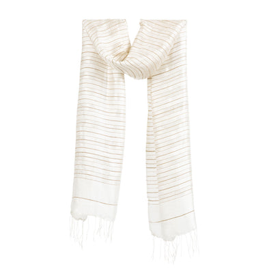 Silk With Strands of Lotus Scarf – Ivory