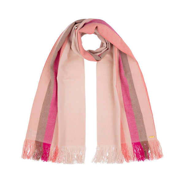 Neck loop folded cashmere stripe scarf in shades of cream, tan, pink, coral. Handwoven and sustainably made from eco dyes by Thread Tales