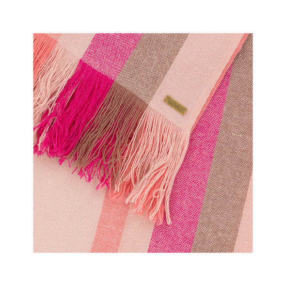 Fringe detail of cashmere stripe scarf in shades of cream, tan, pink, coral. Handwoven and sustainably made from eco dyes by Thread Tales