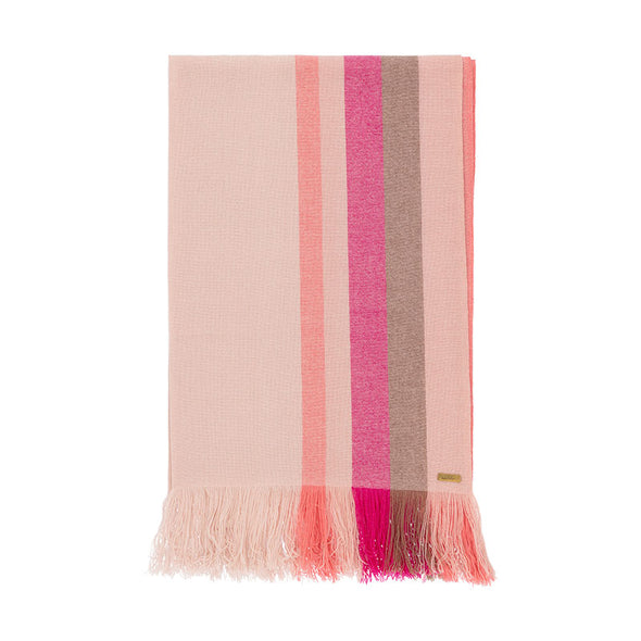Folded cashmere stripe scarf in shades of cream, tan, pink, coral. Handwoven and sustainably made from eco dyes by Thread Tales