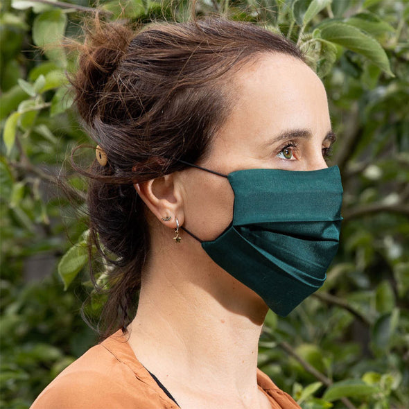 Reversible Silk Face Mask with Band - Teal