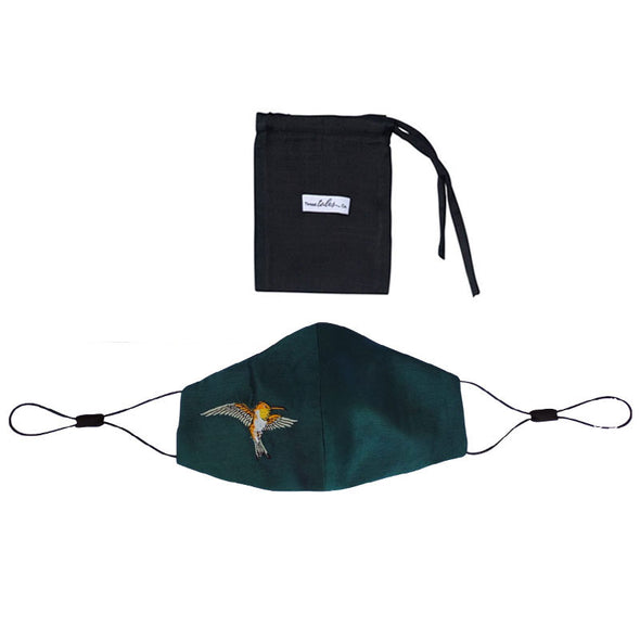 Adjustable Silk Mask with Embroidered Hummingbird - Teal