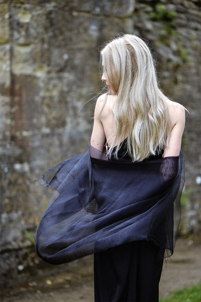 Model wearing scarf shawl black silk double layer floaty effect sheer scarf from Thread Tales company