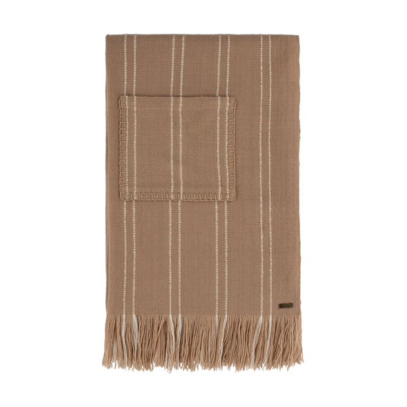 Broken Stripe Pocket Wrap - Camel and Cream