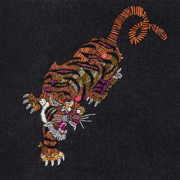 Hand Woven Tiger Embroidery Scarf