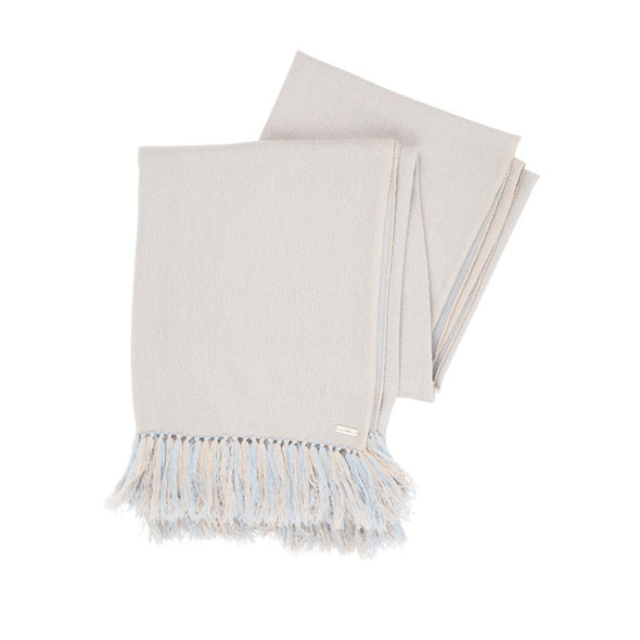 folded scarf cashmere annd wool in powder blue and putty two tone with long fringe