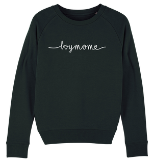 Bild in Slideshow öffnen, BOYMOM HANDWRITTEN SWEATSHIRT - Ladies Organic Sweatshirt-Hoodies & Sweatshirts-FAMILY BY HEART