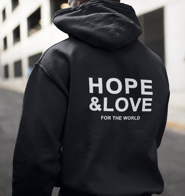 HOPE & LOVE FOR THE WORLD - Hoodie aus Bio-Baumwolle-Hoodies-FAMILY BY HEART