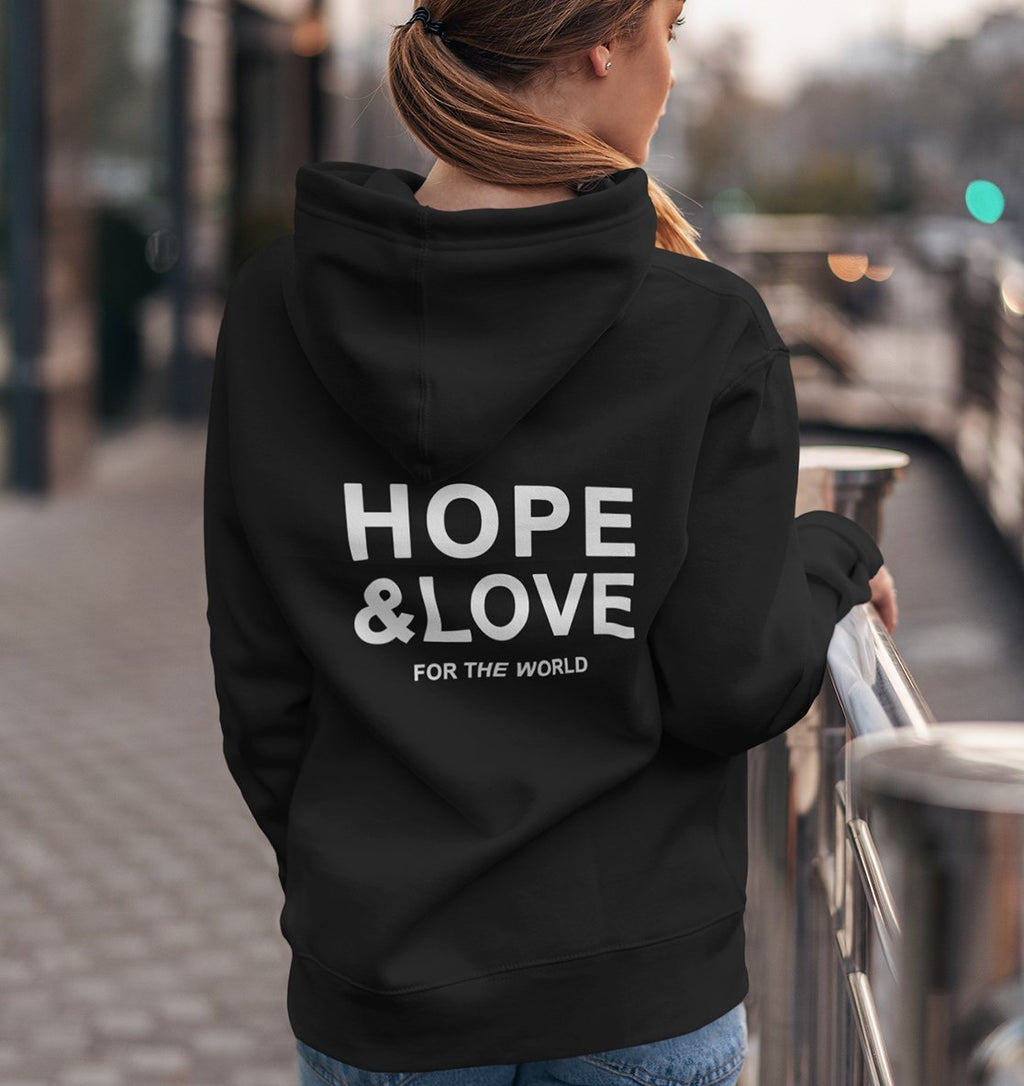 HOPE & LOVE FOR THE WORLD - Hoodie aus Bio-Baumwolle-Damen Hoodies-FAMILY BY HEART