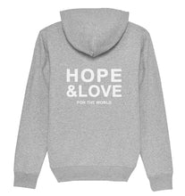 Lade das Bild in den Galerie-Viewer, HOPE & LOVE FOR THE WORLD - Hoodie aus Bio-Baumwolle-Hoodies-FAMILY BY HEART