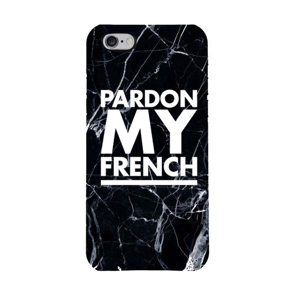 MARBLE PARDON MY FRENCH IPHONE CASE BLACK
