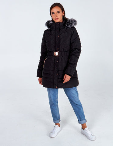 Faith Black Mix Quilt Belted Puffer Coat