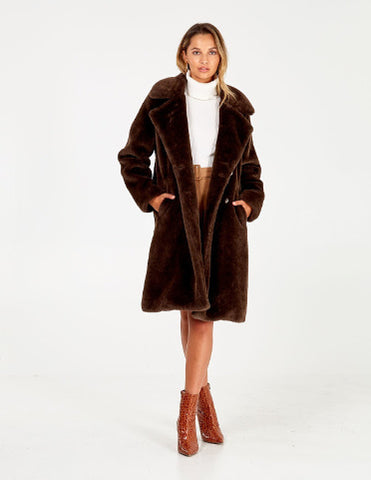 Frankie Button Front Fur Trim Midi Coat