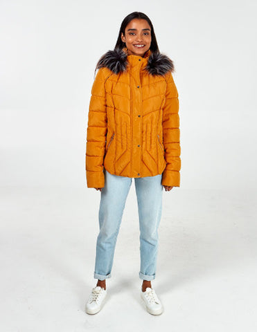 Mya Fitted Fur Hood Puffer Jacket