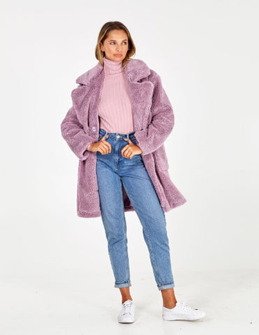 Tilly Lilac Drop Shoulder Double-Breasted Teddy Coat