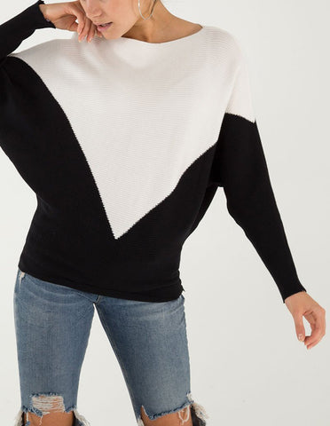 Anabelle Two-Colour Batwing Jumper