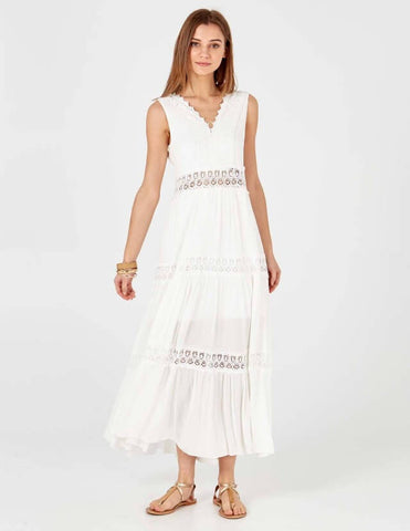 Jessica Borderie Argalie White Maxi Dress