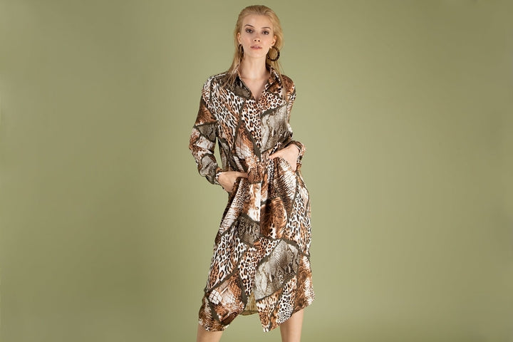 Loreen Tie Detail Button Front Brown Dress