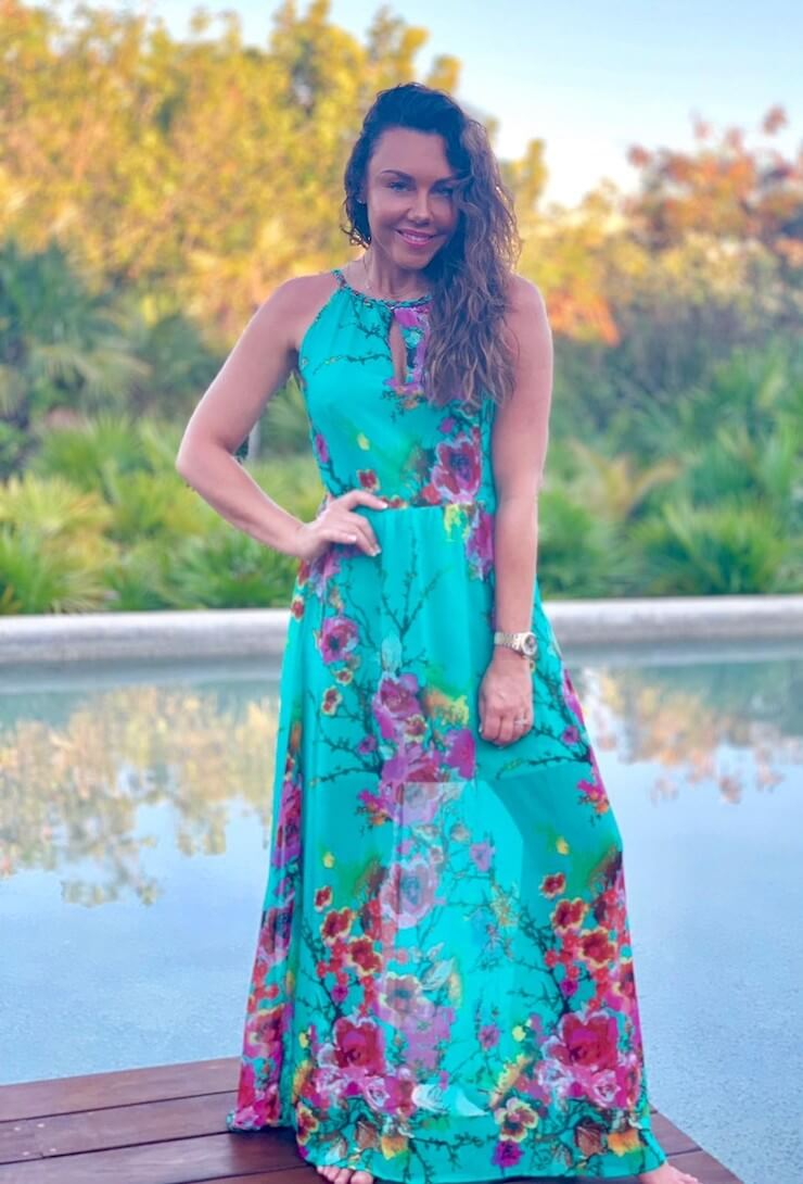 Eryn Turquoise Floral Print Maxi Dress