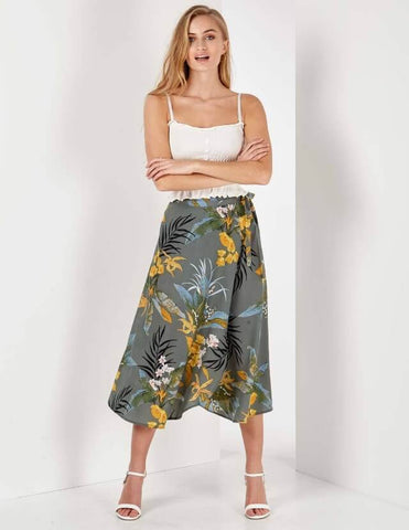 Emerie Floral Print Midi Green Wrap Skirt