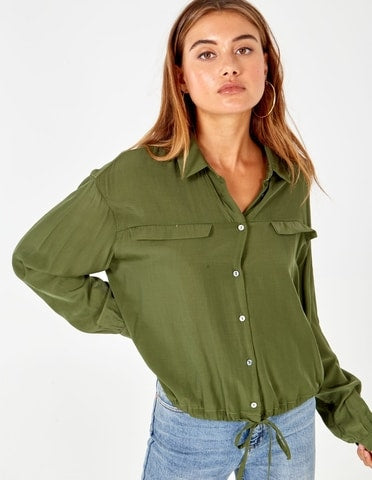 Lizette Long Sleeve Button Through Khaki Collar Shirt