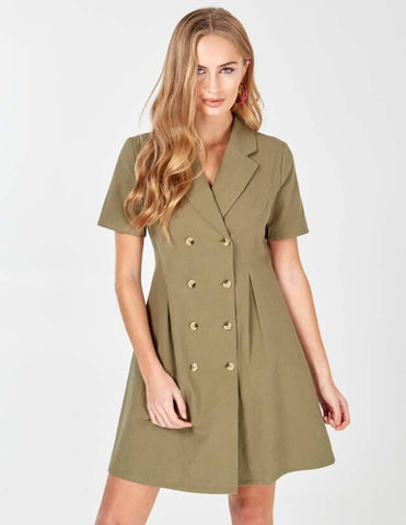 Laia Khaki Double Breasted Safari Dress