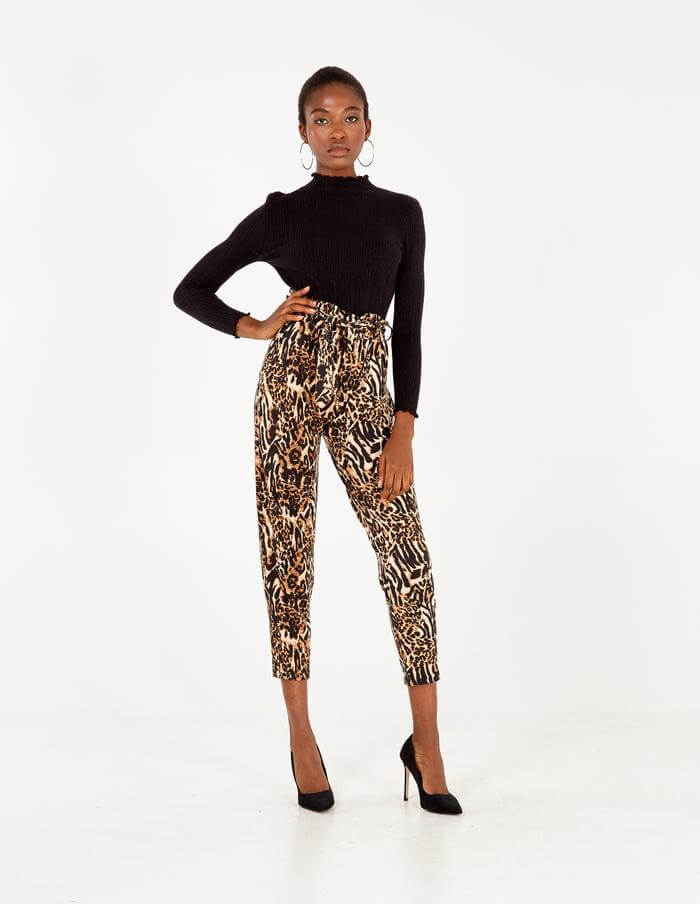 Morley Abstract Animal Print Paperbag Waist Trousers