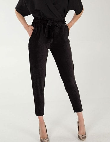 Babycord Paperbag Waist Black Trousers