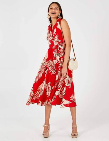 Ashley Red Collar Wrap Front Midi Dress