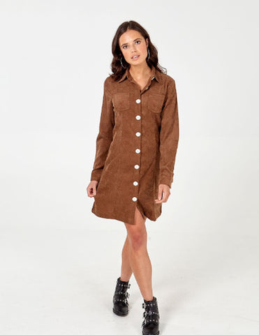 Sherry Button Through Cord Shirt Dress