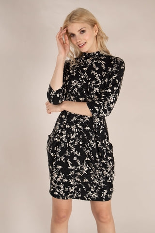 Jetta High Neck Floral Print Tulip Black Dress