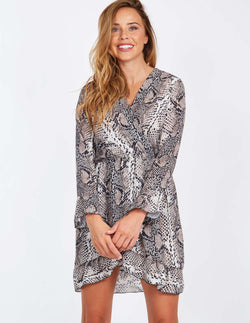 NADIRA - Wrap Long Sleeve Ruffle Detail Snake Print Dress