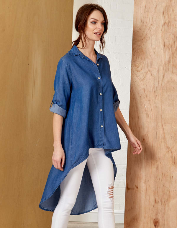 CACEY - Hi-Low Buttoned Front Denim Top