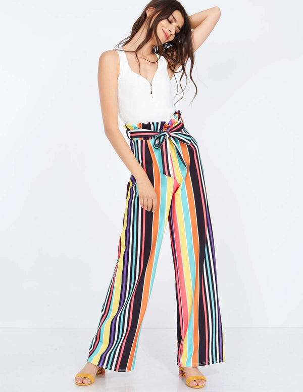 LANIE - Multicolour Striped Paperbag Trousers