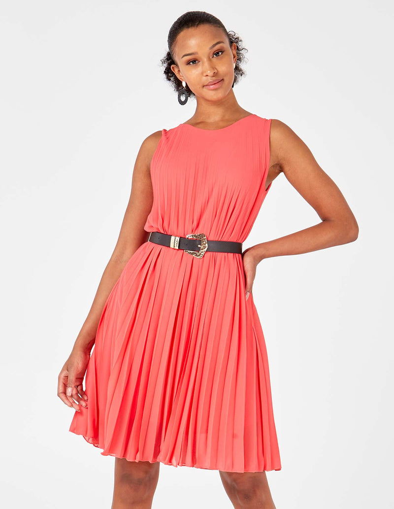 MELODY - Sleeveless Pleated Coral Dress