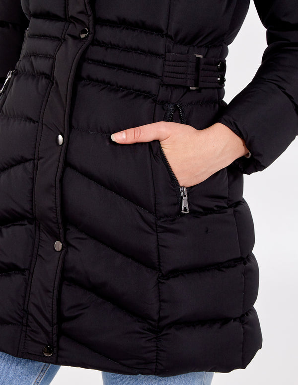 BARBARA - Belt Detail Faux Fur Hooded Puffer Jacket