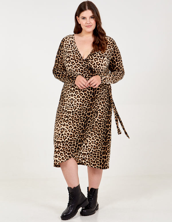 ELISA - Curve Soft Touch Leopard Print Wrap Dress