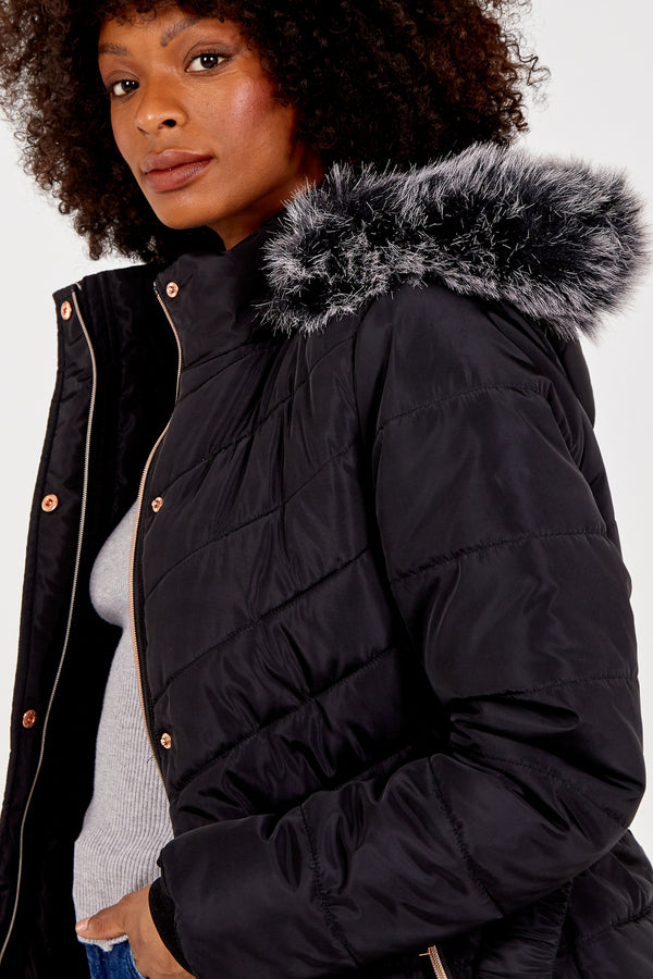 FAITH - Black Mix Quilt Belted Puffer Coat