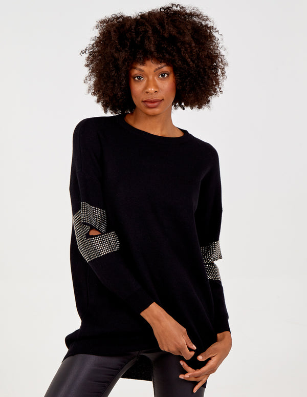 EVELINA - Diamante Elbow Cutout Oversized Jumper