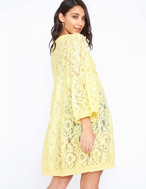 ANISSA - Flared Sleeve Lace Yellow Tunic