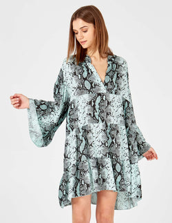 LIBBY - Long Sleeve Snake Print Oversized Mint Tunic