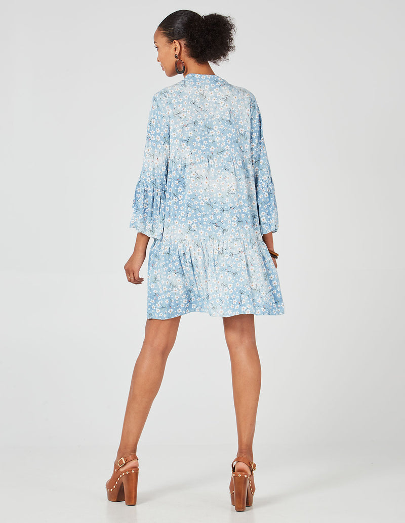 LIBBY - Long Sleeve Floral Print Oversized Blue Tunic