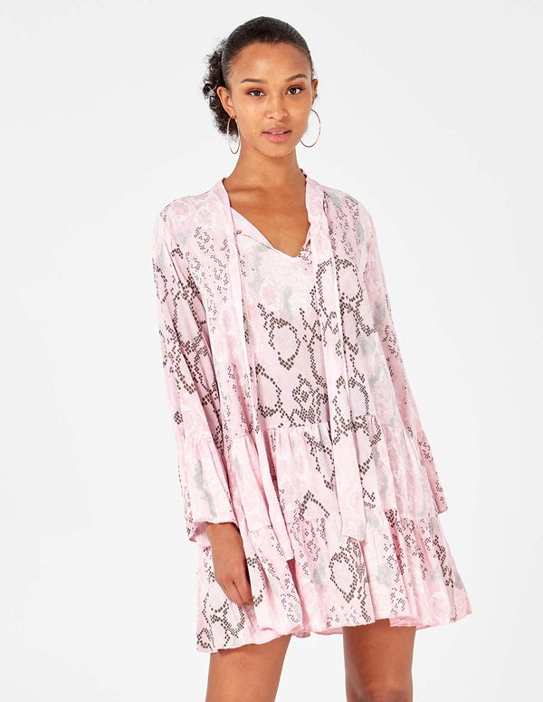 ROSE - Bow Collar Snake Print Pink Tunic