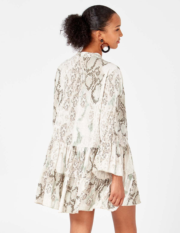 ROSE - Bow Collar Snake Print Cream Tunic