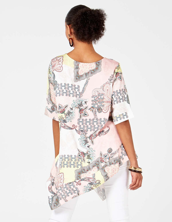 SUSAN - Asymmetric Printed Pink Top