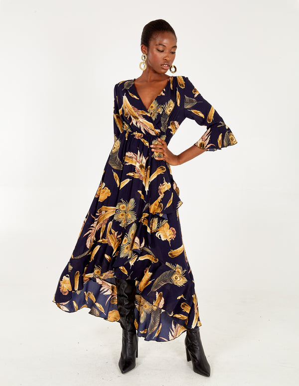 LORENDA - Hi-Low Wrap Front Navy Maxi Dress